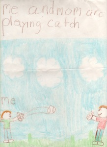 playing catch/kindergarten drawing