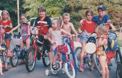 buddies in bike parade (Mack in hat at right)