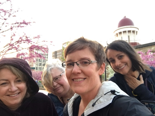Alicia, Maureen, Sandra, and me downtown after the trip to Oak Ridge